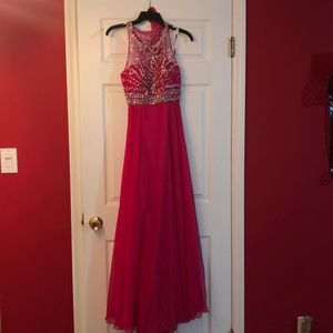 Hot pink BLUSH sequence prom dress